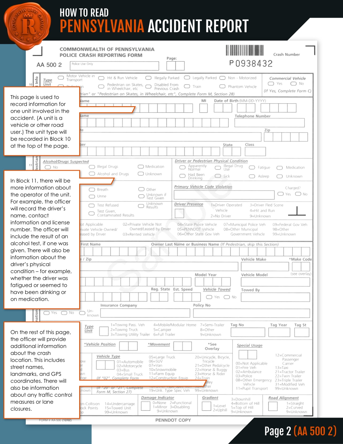 Reading Your Accident Report page 2